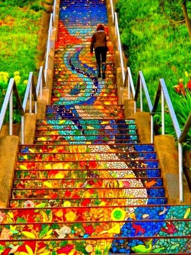 Don't care that I've pinned this before. It should be pinned again. And again. And again. Part of the 16th Avenue Tiled Steps Project in San Francisco, California - NOT Street Art (Arte Callejero) in Valparaiso, Chile
