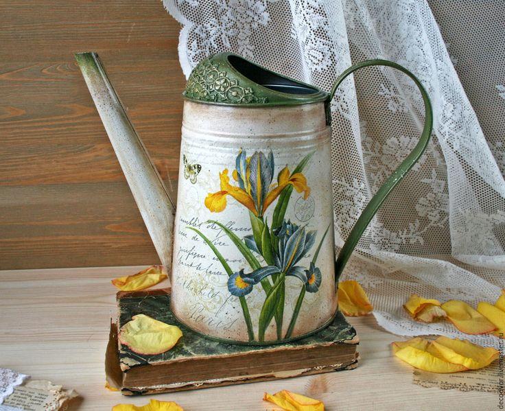 """Купить Лейка """"Ирисы"""" - ирисы, лейка, подарок женщине, ваза для сухоцветов, оригинальный подарок"""