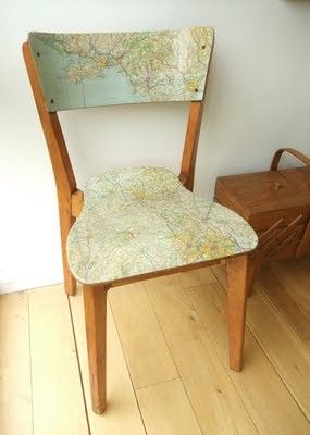 love this chair with recycled map!Decor, Ideas, Mod Podge, Vintage Maps, Maps Chairs, Old Maps, Old Chairs, Diy, Crafts