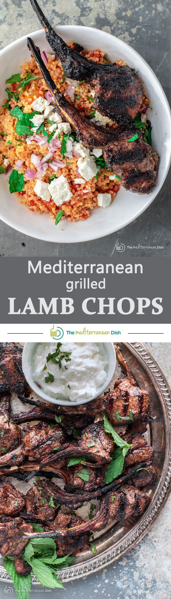 Mediterranean Grilled Lamb Chop Recipe with Tomato Mint Quinoa | The Mediterranean Dish. A quick and impressive meal! Rack of lamb, divided into chops, marinated with an awesome Mediterranean spice rub. Grilled to perfection and served with a bowl of tomato mint quinoa! Need I say more! Try it today!