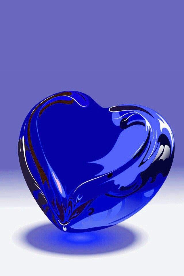 kobalt blauw glas hart...  heel mooi