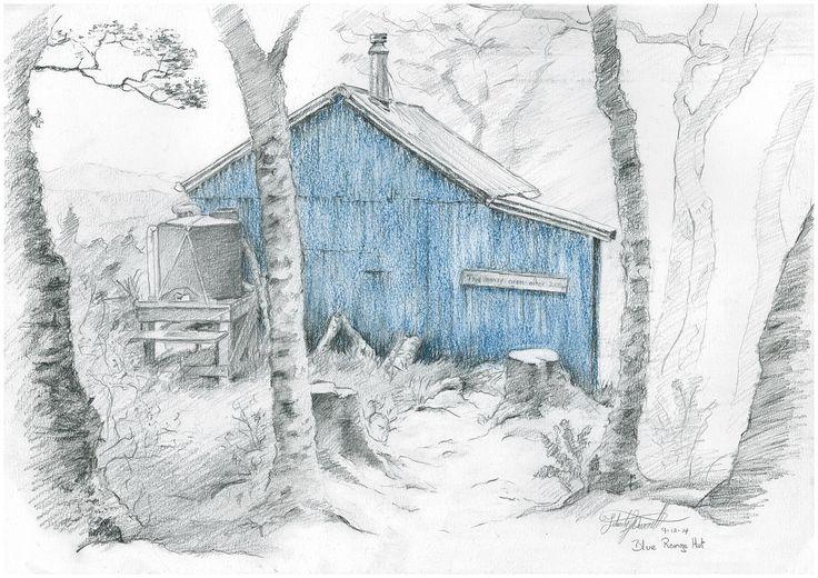 Blue Range Hut, Tararua Ranges, NZ. Drawn en plein air by Felicity Deverell The Art of a Hut Collection