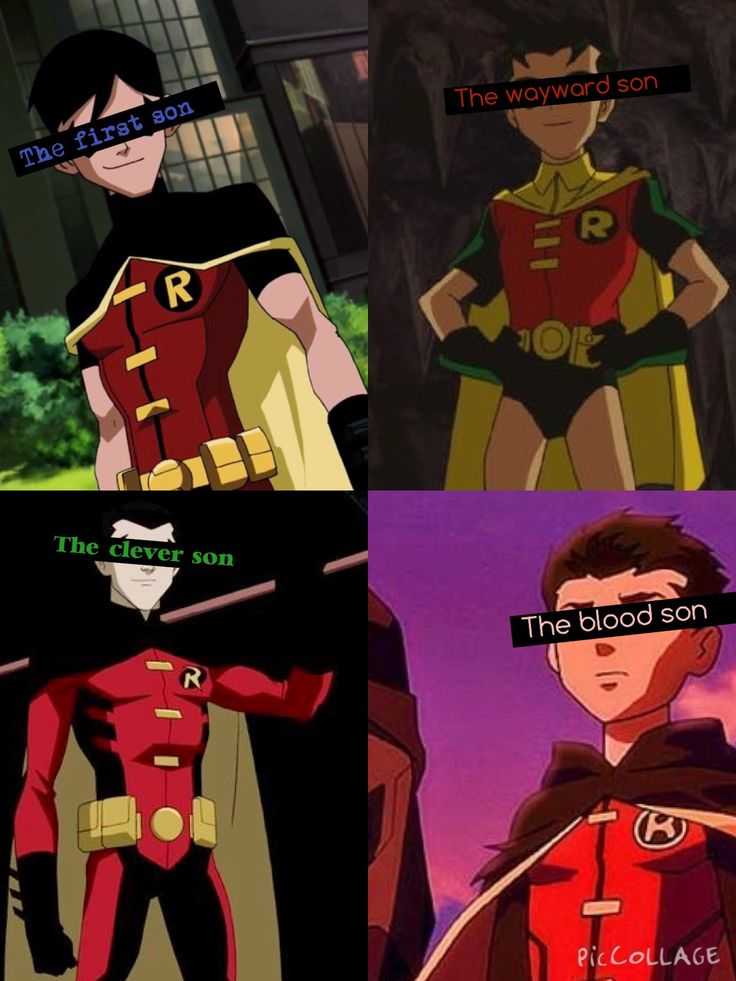 All four Robins, Dick Grayson, Jason Todd, Tim Drake, and Damian Wayne. I love them all to pieces. (Edit by me, Supreme Baker)