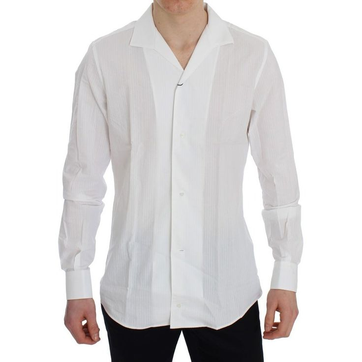 Dolce \ Gabbana White Cotton Slim GOLD Formal Shirt Products - best of ns21