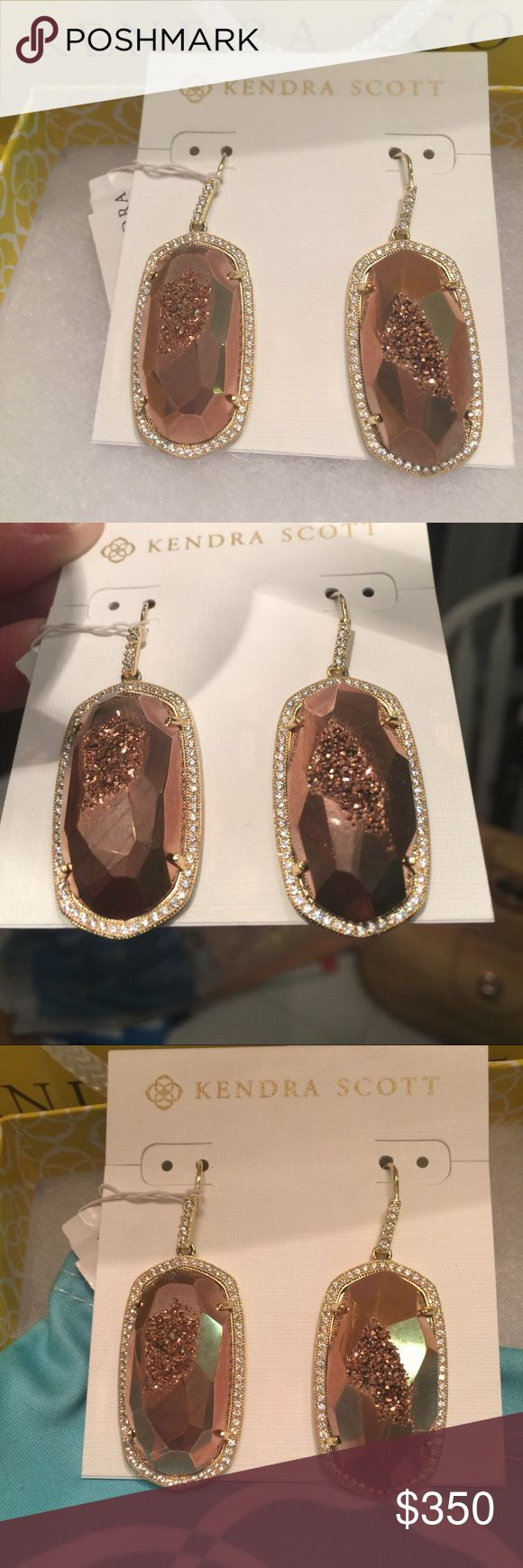 NWT Kendra Scott Rose Gold Ellen Earrings RARE😊 Brand new with tags, these retired and impossible to find Ellen earrings are stunning! The rose drusy stones are flawless, and the yellow gold drop setting, surrounded by brilliant individually-set stones, is so eye-catching. There are no flaws, scratches, missing stones, NOTHING at all wrong! Comes with a signature KS blue dustbag. Please no trades and no lowballs-these are not available anywhere and I searched forever for them! Kendra Scott…