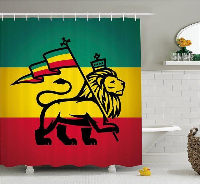 Rasta Shower Curtain Judah Lion With A Rastafari Flag King Jungle Reggae Theme Art Print Decor Set With Hooks 70 Inches Review Bathroom Decor Sets Shower Curtain Art Rustic Shower Curtains