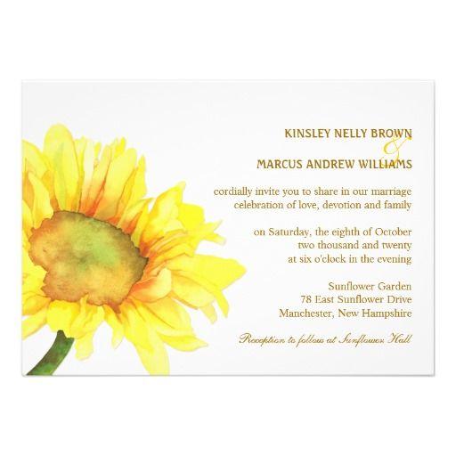 Elegant Sunflowers Casual Outdoor Wedding Invites.   Rectangle http://www.zazzle.com/elegant_sunflowers_casual_outdoor_wedding_invites-161111624287112844