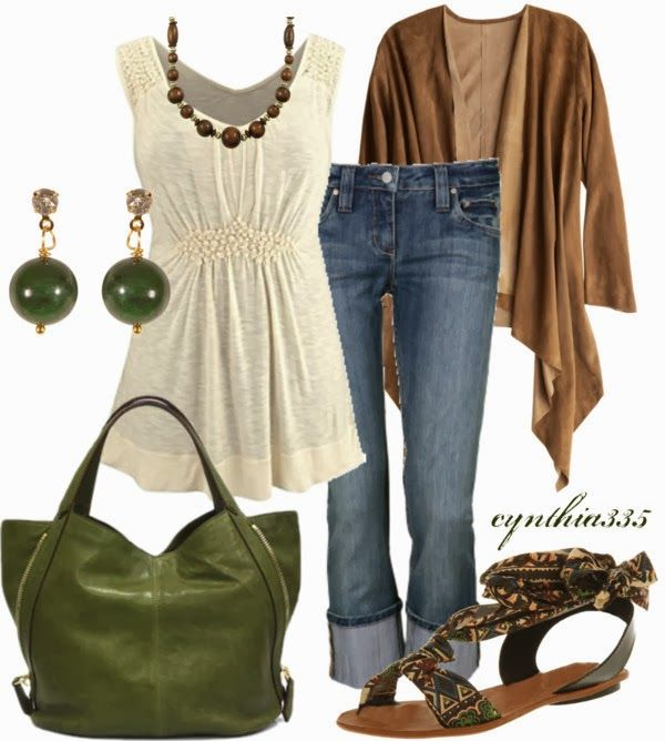 Casual Outfits | Pretty Neutrals  Tunic Tank Top, Ruby Crops Jeans, CALYPSO Jacket, Givenchy Tinhan Bag, Wood Necklace  by cynthia335 - This would look better without the cardigan.