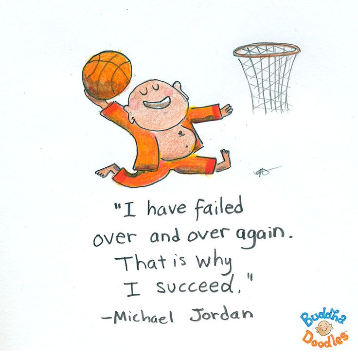 """I have failed over and over again. That is why I succeed."" Michael Jordan #BuddhaDoodles"