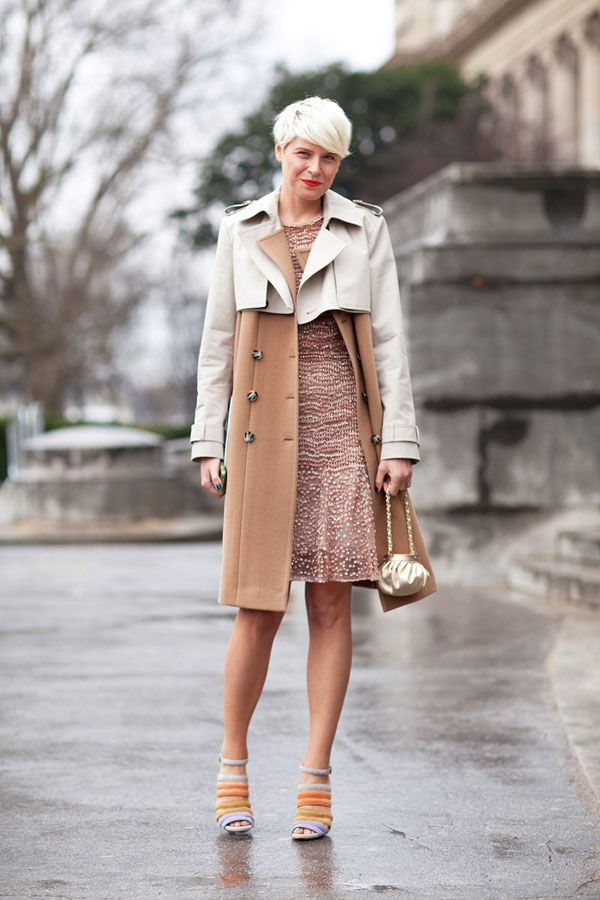 Elisa Nalin wears a perfect transitional winter-to-spring trench over her sparkly sequined pink dress.