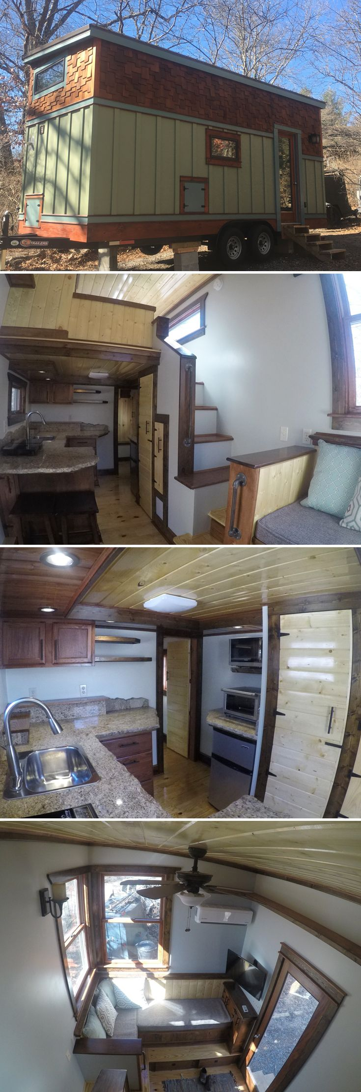 Blue Ridge is an 18' craftsman style tiny house from Aneides Tiny Homes featuring a sunken queen bedroom loft and several built-in storage areas.