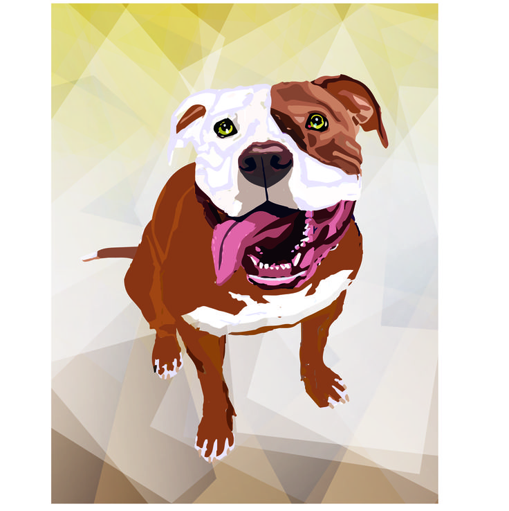 #Illustration #Otto #Dog #Pitbull