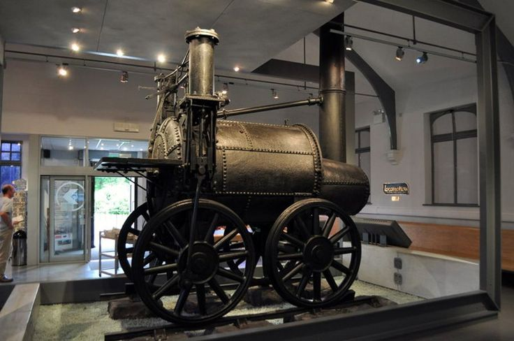 """La """"Sans Pareil"""" steam locomotive built by Timothy Hackworth which took part in the 1829 Rainhill Trials on the Liverpool and Manchester Railway. Now at Shildon."""