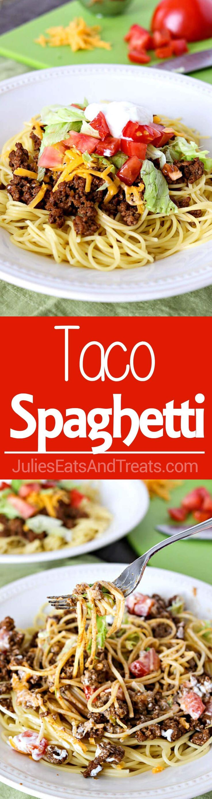 Taco Spaghetti - A fun, new way to enjoy Taco Tuesday! Taco spaghetti is an easy weeknight meal that is perfect for the whole family! Enjoy this easy recipe for Dinner tonight! ~ http://www.julieseats (Mexican Recipes For Dinner)