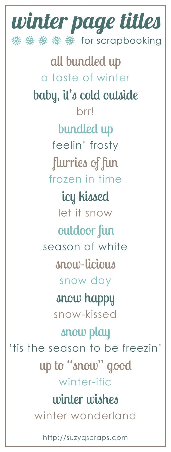 Winter scrapbook page titles - would work for treasury titles or blog titles as well.