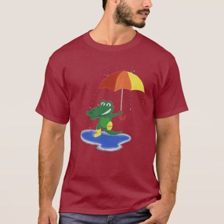 Cute crocodile under the rain T-Shirt - tap, personalize, buy right now!