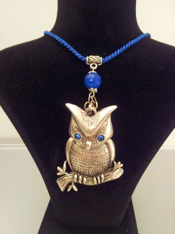 Owl Pendant Necklace with Blue Cord. Handmade by FARILYATASARIM