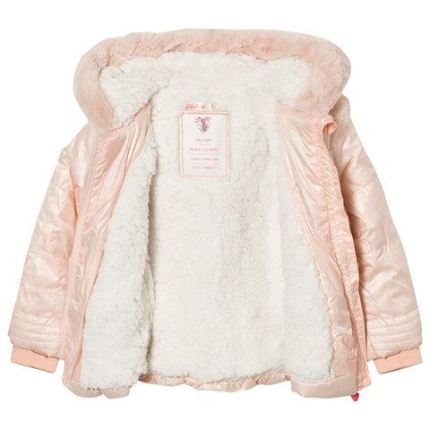 Billieblush Pink Puffer and Faux Fur Hooded Coat