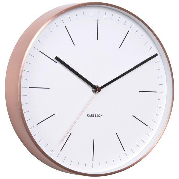 karlsson minimal copper clock white - Wall Clocks