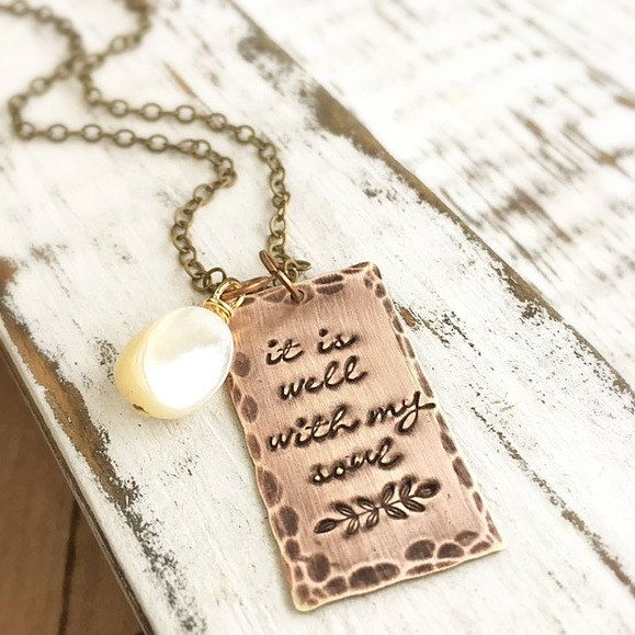 Faith Necklace . Faith Jewelry . Christian Jewelry . It Is Well With My Soul . Religious Jewelry . Engraved Jewelry . Handmade Gifts