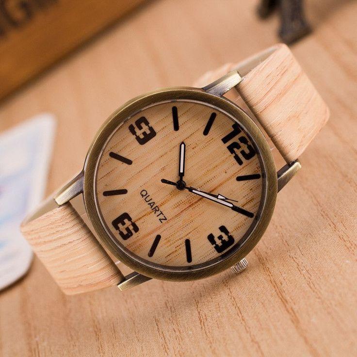 Fashion vintage leather Wood grain Analog quartz-watch hour clock female watch women Femme watch