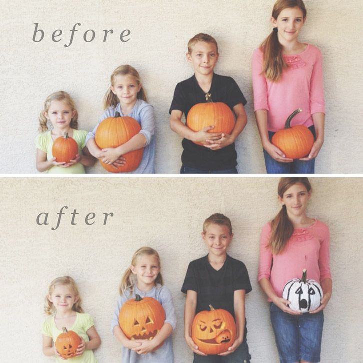Before + after pumpkin photo.