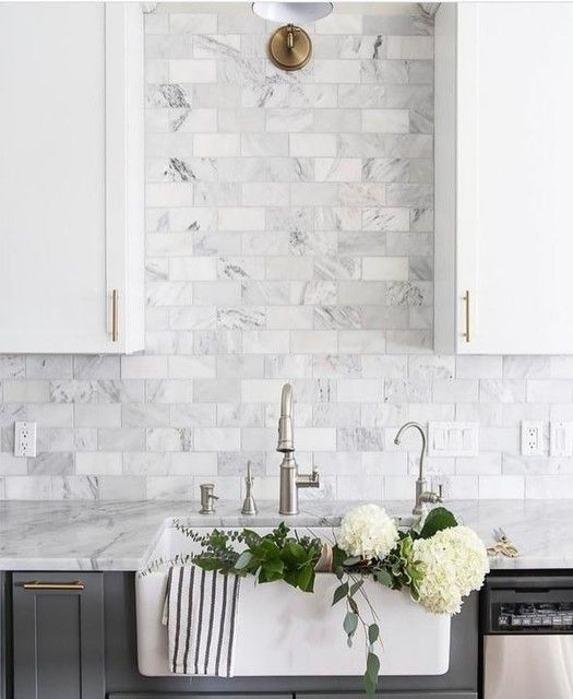 Hampton Carrara Polished Marble Subway Tile - 3 x 6 in. - The Tile Shop