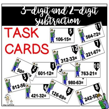 These TASK CARDS are perfect for engaging your students and help them practice 3-digit and 2-digit numbers subtraction. I recommend using these cards for group work. This product comes with 12 TASK CARDS, an Answer Sheet for Students and ready answers for