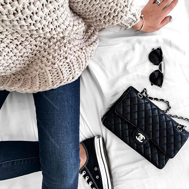 Classic Chanel 2.55 Double Flap Bag and Converse