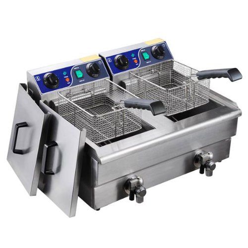 GC Global Direct Double 20L Electric Deep Fryer with Drain