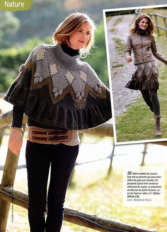 2 ways poncho skirt knitting pattern PDF by AliceInCraftyland, ETSY