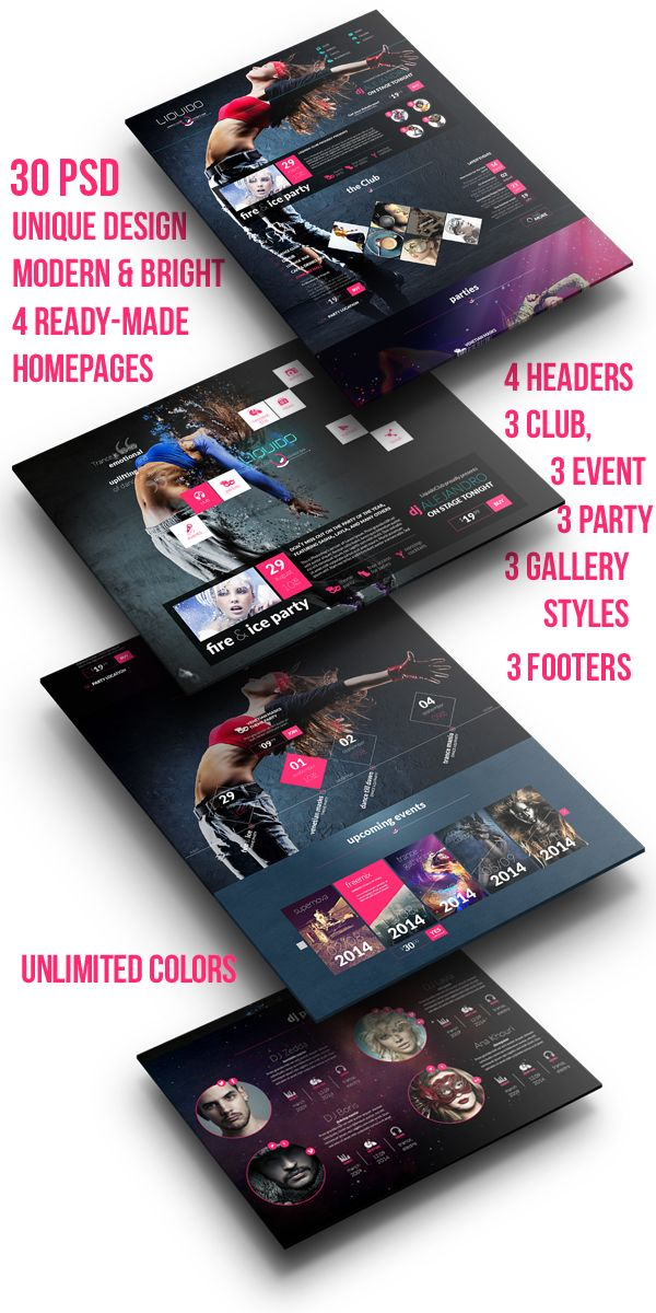 Liquido – a visually powerful one page template for your dance club, night club, lounge bar, or DJ career. #dance #nightclub #psd #theme #template