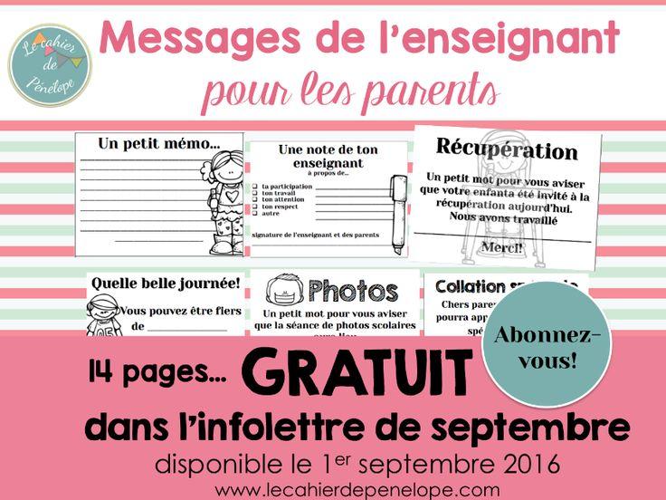 messages pour les parents, gratuits dans mon infolettre de septembre…