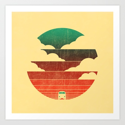 This, but with bicycle figures instread of the kombi ... Go West Art Print by Budi Satria Kwan - $19.97