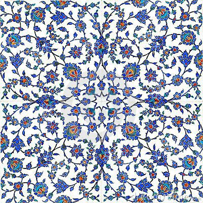 Floral pattern on turkish tiles found in Rustempasa Mosque in Istanbul Turkey