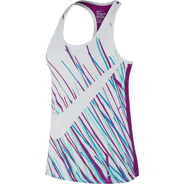 Nike Swoosh Speed Tank Top White ($30) ❤ liked on Polyvore featuring tops, shirts, white shirt, racerback tank, print shirts, white tank top and nike shirts