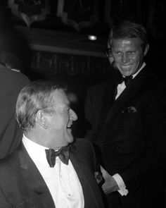 John Wayne Steve McQueen joking around candid 1960's rare image 8x10 Photo