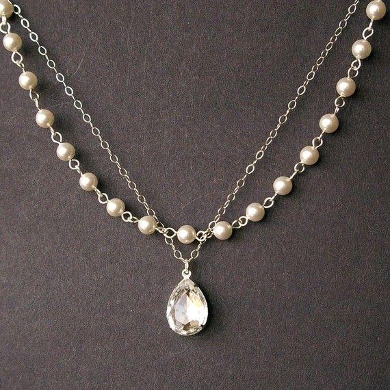 Crystal and Pearl Bridal Necklace, Vintage Style Bridal Jewelry, Ivory Pearl Wedding Necklace, Rhinestone Wedding Jewelry, DIAMOND GLOW via Etsy