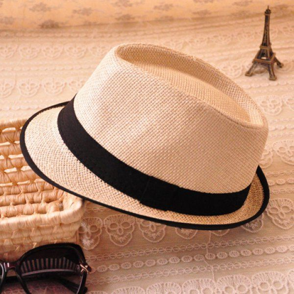 Stylish Candy Color Belt Decorated Simply Designed Sun Hat