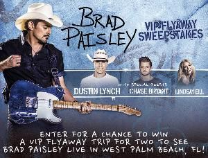 Two (2) VIP tickets  to Brad Paisley Summer Tour concert in West Palm Beach, FL on September 15, 2017 Two (2) VIP gift bags, One (1) signed 'Brad Paisley' hat Airfare and Hotel Accommodations $200 Cash Gift Card for Ground Transportation