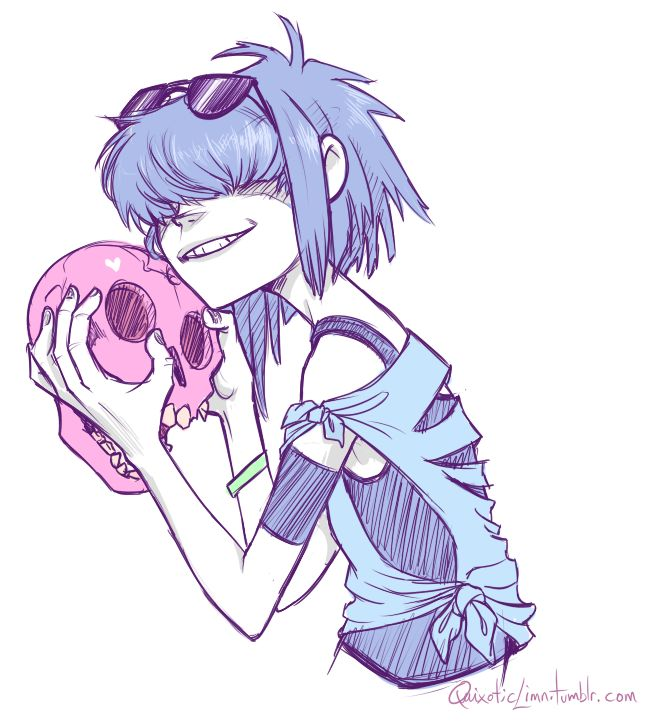 quixoticlimn:  Noodle from Gorillaz 3 She is just TOO FUN to draw!                                                                                                                                                                                 Mais