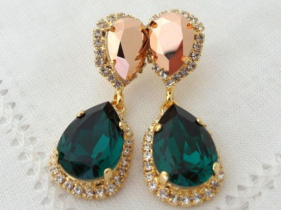 Emerald green and rose gold crystal Chandelier earrings, Bridal earring, Dangle earrings, Drop earrings, Wedding jewelry, Swarovski earrings