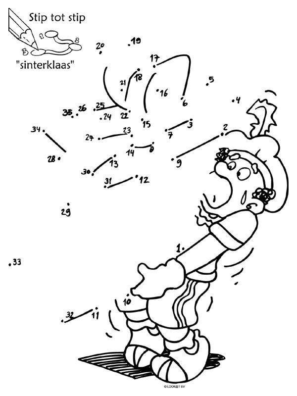 Kleurplaat - Stip tot stip Sinterklaas ( puzzel ) - Kleurplaten.nl