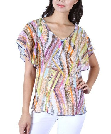 Look at this #zulilyfind! Yellow & Pink Abstract Flutter-Sleeve Top by Collective Rack #zulilyfinds