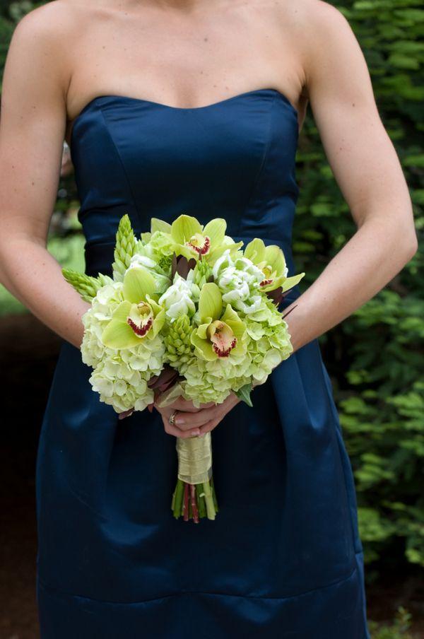 Navy and Green wedding theme bridesmaid