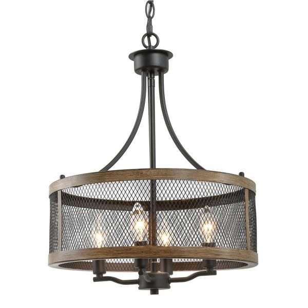 Lnc Eniso 16 In 4 Light Black Mesh Iron Drum Chandelier With Painted Pine Accents Iymvybhd13559y6 T In 2020 Dining Room Lighting Rustic Chandelier Dining Chandelier