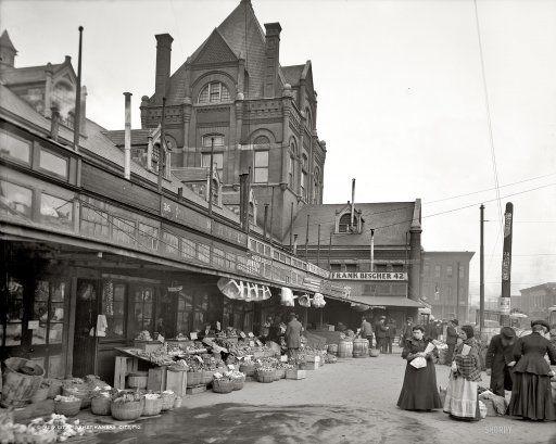 "Circa 1906. ""City Market, Kansas City, Missouri."" 8x10 inch dry plate glass negative, Detroit Publishing Company."