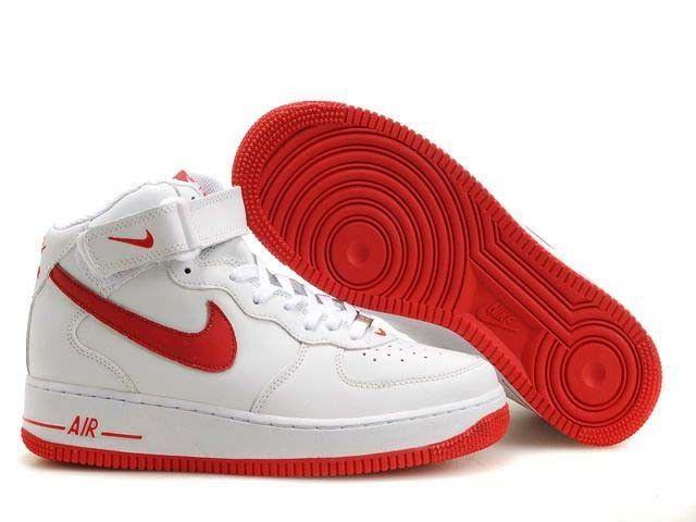 Rabatt Nike Air Force 1 Mid Schuhe Weiss Rot Genel Nike Air Force Mens Nike Air Nike Air Force Ones