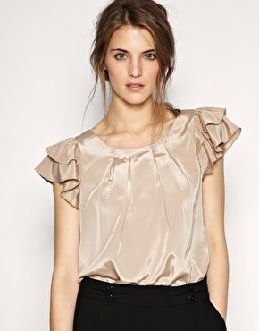 Image 1 of ASOS Ruffle Sleeve Smart Blouse