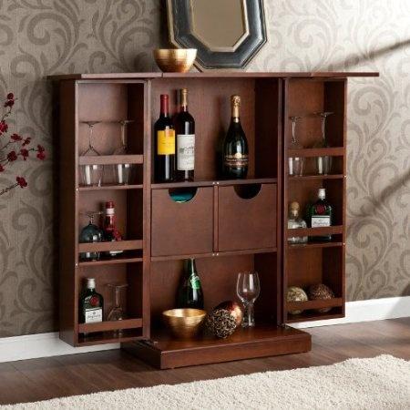 Amazon.com: Rich Tuscan Wood Folding Fold-away Wine Liquor Fold-up Mini Bar Pub Cabinet Rack: Furniture & Decor